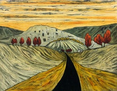 Road in the Pennines Saddleworth Abstract Landscape Painting by British Artist