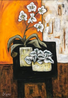 Still Life Interior Painting Orchids on Table by Cubist Fauvist British Artist