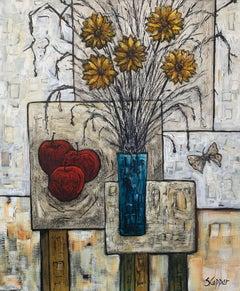 Still Life Painting Blue Vase Flowers & Apples by Cubist Fauvist British Artist