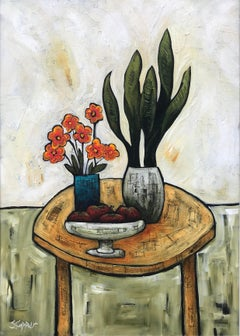Still Life Painting Mother in Laws Tongue Plant by Cubist Fauvist British Artist