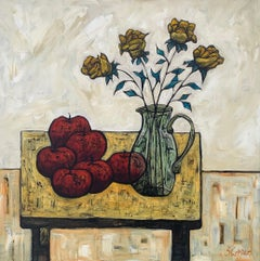 Still Life Painting with Apples & Flowers by Cubist Fauvist British Artist