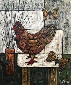 Still Life Painting with Chicken & Butterflies by Cubist Fauvist British Artist