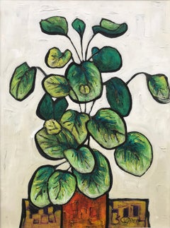 Still Life Painting of Green Plant by Cubist Fauvist Modern 20thC British Artist