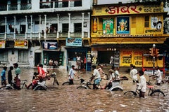 Pedicabs in a Flooded Street, Varanasi, India, 1983