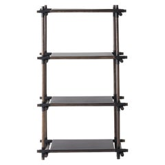 Stick System, Dark Ash Shelves with Black Poles, 1 x 4