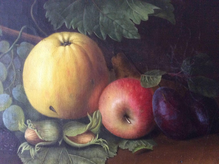 A nice still life on canvas with fruits oil on canvas sign. TB.