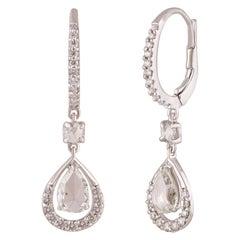 Studio Rêves Diamond Drop Dangling Earrings in 18 Karat White Gold