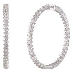 Studio Rêves Pear Diamond Studded Hoop Earrings in 18 Karat White Gold