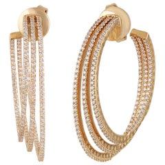 Studio Rêves Three Line Round Diamond Hoop Earrings in 18 Karat Yellow Gold