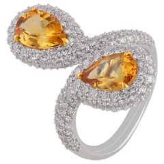 Studio Rêves Tiger's Eyes Cocktail Ring with Diamonds and Citrines in 18k Gold