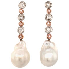 Stunning Baroque South Sea Cultured Pearl Earstuds with Fancy Colored Diamonds