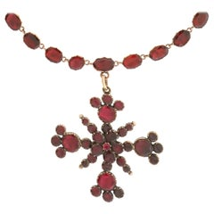 Stunning Georgian Garnet-Set Maltese Cross Necklace