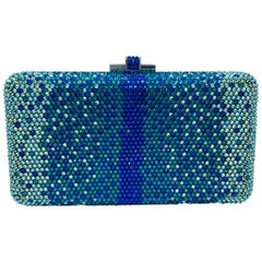 Stunning Judith Leiber Peacock Blue Shimmering Crystal Minaudiere Evening Bag