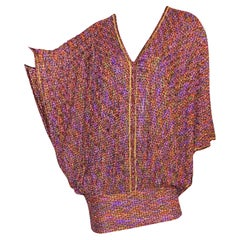 Stunning Missoni Metallic Copper Purple Lurex Crochet Knit Kaftan Dress
