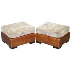 Stunning Pair of Fendi Casa Crocodile Alligator Patina Brown Leather Footstools