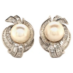 Stunning South Sea Cultured Pearls Earrings in White Gold 750 with Diamonds