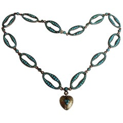 Stunning Victorian Turquoise Silver Heart Love Necklace