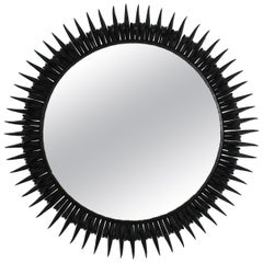 Sunburst Eyelash Wrought Iron Round Wall Mirror in Black Patina