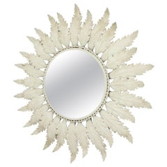 Sunburst Mirror with Beveled Glass and Grey Patina, Spain, 1960s