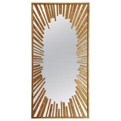 Sunburst Rectangular Mirror with Radiation Pattern in Gold Leaf