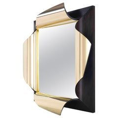 Surrealist Mirror in Polished Brass and Fumed Oak, Salvador by Jake Phipps