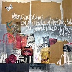 Sonnet #13 - textural abstract street art painting soft color white, brown, pink