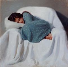 Sleeping Girl in Blue Dress - 21st Century Contemporary by Svetlana Tartakovska