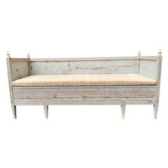 Swedish 18th Century Gustavian Sofa Bench in Old Gray Paint