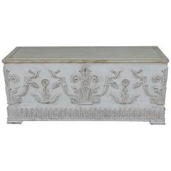 Swedish Art Deco Era Gustavian White Painted Storage Chest Circa 1920