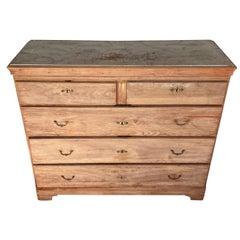 Swedish Gustavian Chest of 6 Drawers with Blueish Faux Marble Top