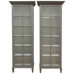 Swedish Gustavian Single Glass Door Cabinets