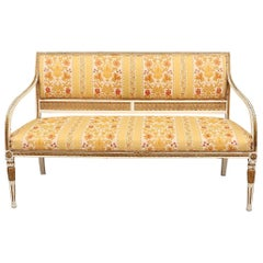 Swedish Gustavian Sofa Couch Loveseat White Carved, Late 19th Century 3-Seat