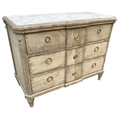 Swedish Late 19th Century Faux Marble-Top Gustavian Style Chest of Drawers