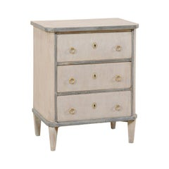 Swedish Period Gustavian Petite Sized Three-Drawer Chest, Early 19th Century
