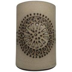 Swedish Alingsås Sand and Black Ceramic Vase with Graphic Pattern, 1960s