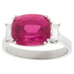 Swiss Modern Pink Tourmaline and Diamond-Set Gold Ring