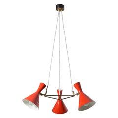 Swiss Red Cone Chandelier by Baumann Kölliker, 1950s