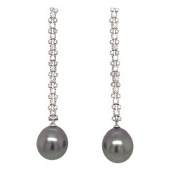 Tahitian Pearl Diamond Drop Earrings 1.08 Carat 18 Karat White Gold