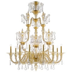 Taif 5350 12 Chandelier in Gold Glass, by Barovier & Toso