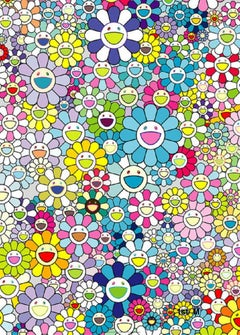 Murakami print - Champagne Supernova Blue (2013) - sold Framed