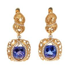 Tanzanite 7.10 Carat Diamonds 18 Karat Yellow Gold Coral Reef Earrings