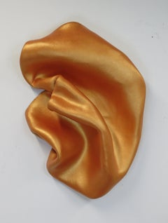 Sinuosity in gold fish orange (wall sculpture minimalist monochrome curvy art )
