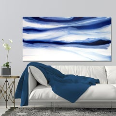 'Denim Blues', Large contemporary abstract acrylic painting