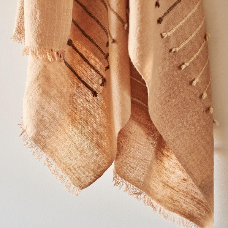 Hand-Woven TERRA Handloom Merino Cotton Throw /  Blanket In Stripes Design, Neutral Color For Sale