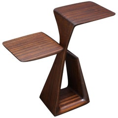 The Loop, Organic, Sculpted, Contemporary Sapele Drink Stand or Occasional Table