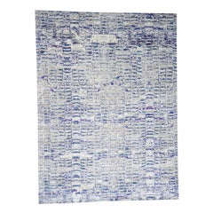 The Wall Sari Silk with Plum Color Hand-Knotted Oriental Rug