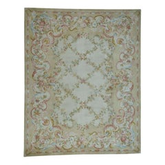 Thick and Plush Oversize Savonnerie Floral Trellis Design Rug