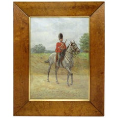 Thomas Mackay Oil Painting Bird's-Eye Maple Frame 1912 British Soldier Signed