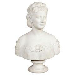 Thomas Ridgeway Gould, a Rare American White Marble Bust of a Woman