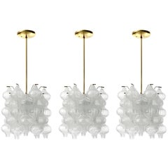 Three Kalmar 'Tulipan' Chandeliers Pendant Lights, Glass Brass, 1970